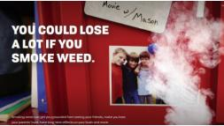 Poster with text you could lose a lot if you smoke weed with picture of friends in background.
